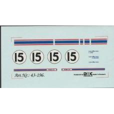 DMC 1:43rd scale Ford GT40 Decal Set - LeMans 1965