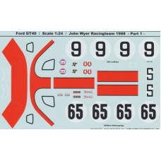 Ford GT40 Decal set John Wyer Racing Le Mans 1968