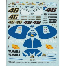 MSM Creation 1:12th Decal set for the Yamaha M1 #46 - Rossi
