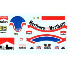 1:20th scale Nigel Mansell helmet and race suit decal Ferrari