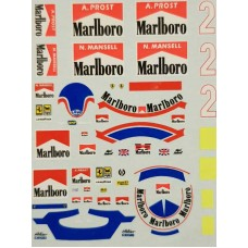 1:20th scale Prost and Mansell helmet and race suit decals Ferrari