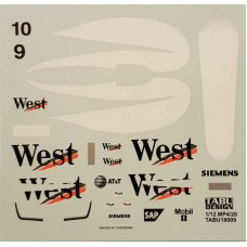 McLaren MP4/20 'West' Sponsor decals for 1:18th scale